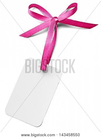 Card with a purple ribbon bow isolated on white