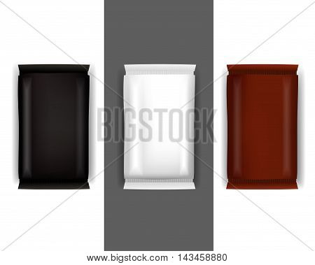 Vector Blank Food Packaging For Biscuit Wafer Crackers Sweets Chocolate Bar Candy Bar Snacks . Design Template. Isolated On White Background.