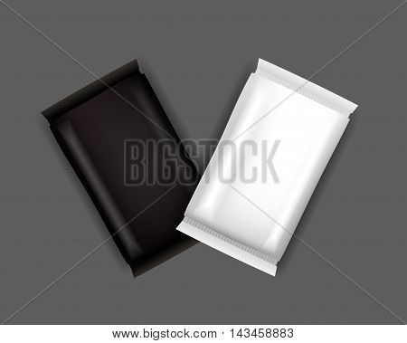Vector White and Black Blank Food Packaging For Biscuit Wafer Crackers Sweets Chocolate Bar Candy Bar Snacks . Design Template. Isolated On White Background.