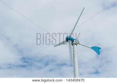 Wind turbine for electricity with blue sky