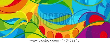 Olympics Abstract colorful background. Vector illustration. Rio. 2016 sport summer games in Brazil different lines and shapes in yellow, orange, green, blue, red summer color pattern, web banner template. Champions Sport kids. Paralympic pattern.