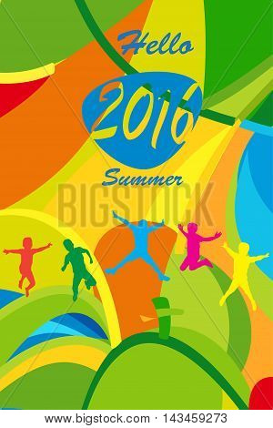 Hello Summer Olympics abstract colorful background for kids Holiday, Sport kids camp. Summer children vacation. Rio Summer Games 2016 Brazil. Vector illustration.