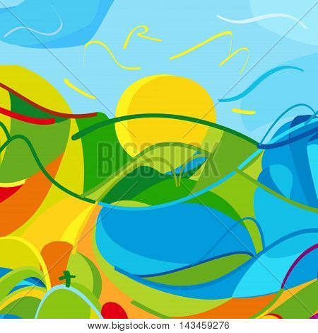 Vector Olympics colorful background. Rio 2016. Summer Holiday pattern. Athletics Games in Brazil vector illustration. For Olympic Kids, festival, summer camp, sport, web design. Hand Drawn. Rio de Janeiro beach. Flat design.