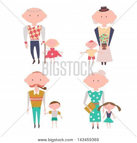 Grandparents with Kids. Vector Set Eps10 Vector