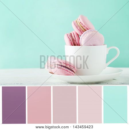 Color Palette With French Macarons In Cup On White Wooden Background