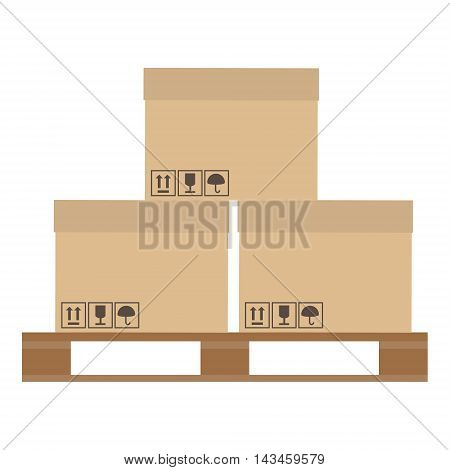 Vector illustration brown closed carton delivery packaging boxes with fragile signs on wooden pallet isolated on white background.