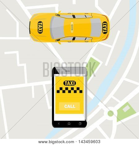 Taxi mobile app concept. Smartphone with mobile app and yellow taxi car. Taxi for smartphone. Call taxi.