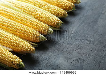 Sweet Corns On A Grey Wooden Table