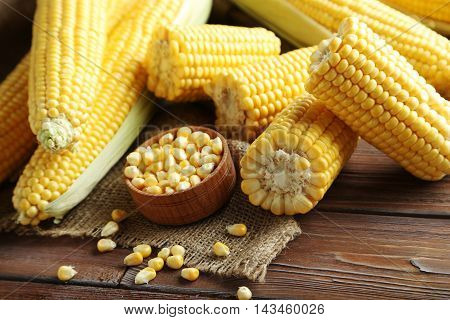 Sweet Corns On A Brown Wooden Table