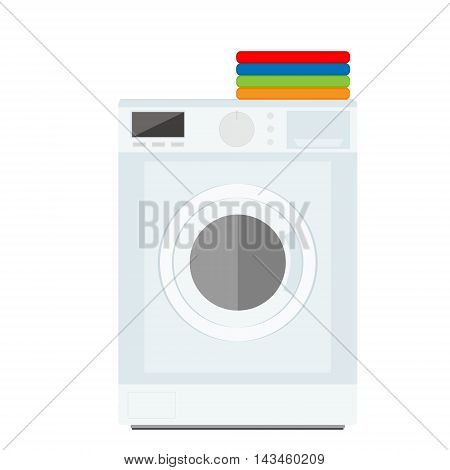 Flat design vector illustration of modern washing machine with pile of clothes. Clothes stack. Washing clothes