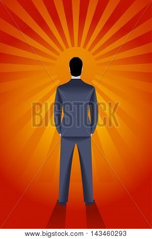 Confident businessman looks on rising sun. Bright light is coming from it and draws deep shadow behind him. Career opportunity and luck