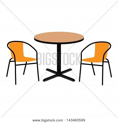 Vector illustration wooden outdoor table and two chairs. Round table and chairs for cafe restaurant terrace