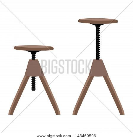 Vector illustration high and low wooden screw stool tabouret. Bar furniture