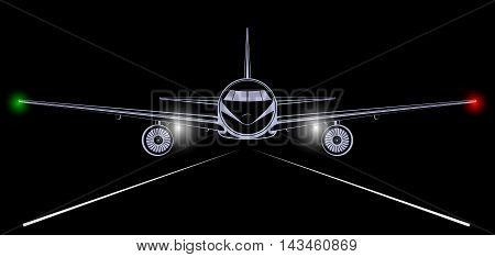 Airplane. Bright silhouette of a jet airliner coming in to land in the night black sky. The headlights and marker lights.