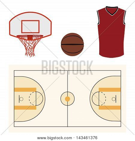 Vector illustration basketball icon set with basketball ball court hoop and shirt. Team sport