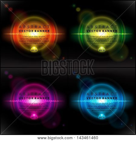 Transparent special lens flare light effect, orange, green, blue and violet on the black panel. Set of 4. Each item contains space for own text. Vector illustration. Eps 10.