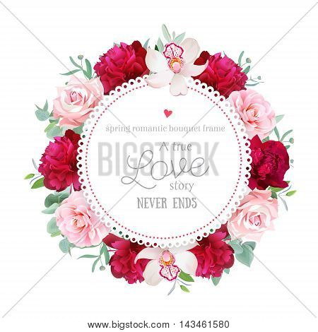 Elegant burgundy red peonies orchid rose camellia eucalyptus leaves round vector frame. All elements are isolated and editable.