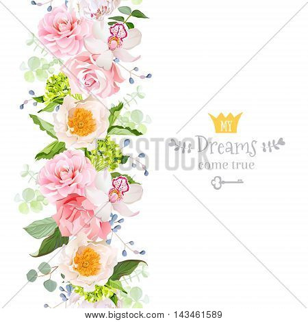 Vertical seamless line garland with camellia rose peony orchid carnation hydrangea green leaves and blue berries. Cute garden floral vector design frame. Banner stripe element.