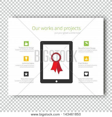 Infographic Mockup device tablet Presentation Template, Business Layout design , Modern Style , Vector design illustration.