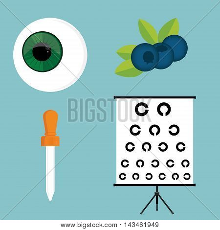 Vector illustration optical ophthalmology icons set symbols. Eyeball eye dropper blueberry and eye test