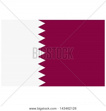 Vector illustration rectangle flag of Qatar country. Button or badge