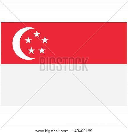 Vector illustration rectangle flag of Singapore country. Singaporean flag. Button or badge