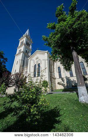 Saint Joseph's Roman Catholic Church in Sighisoara town in Romania