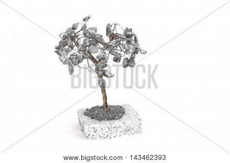 Lucky stone tree on a white background