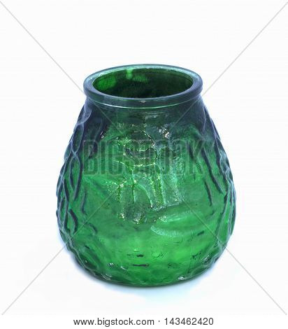 Green Glass Candlestick On White Background