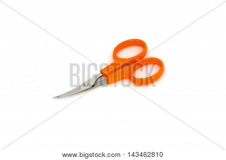 Nail Scissors With Orange Handles On White Background