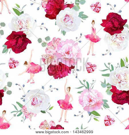 Beautiful ballerinas dance red heart diamonds and fresh peony bouquets seamless vector pattern. Ballet design print. Red pink and burgundy flowers.