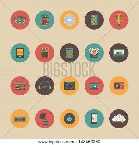 set of retro music gadget icon retro and vintage style