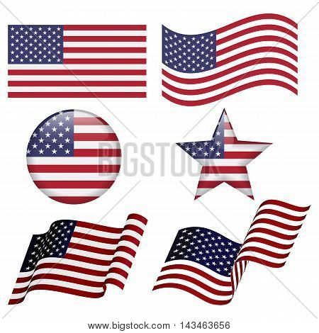 Set of USA flag designs isolated on white background. Flat USA flag. Waving USA flag Round USA flag design. Star USA flag desing.