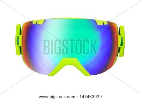 Front view of wide-angle mirror goggle isolated on white background. For skiing and snowboarding