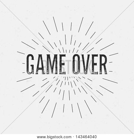 Abstract creative vector design layout with text - game over. Vintage concept background, art template, retro elements, logo, labels, layout, badge, old banner, card. Hand made typography word.