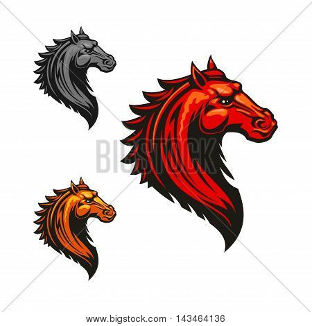 Angry mad horse icon in fiery red, orange and grey colour variations. Flaming wild mustang, decorated by tribal ornament. Horse racing symbol or t-shirt print design