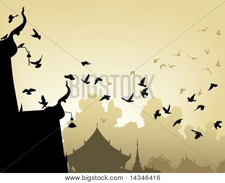 Vector illustration of pigeons flying to a Buddhist temple roof