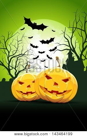 Halloween Party Card with Pumpkins, Bats and Haunted House