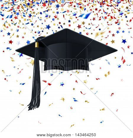 graduate cap with multicolored confetti congratulation on a white background