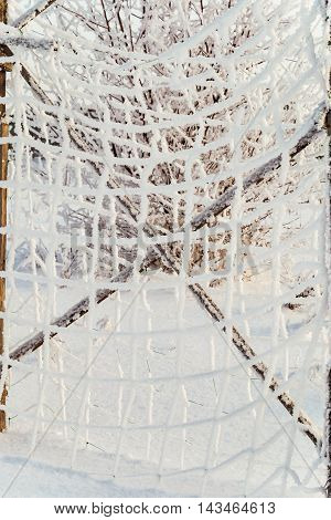 Winter background. The grid of white frost.