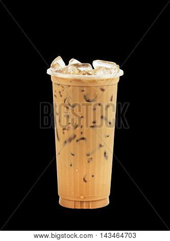 Iced coffee in plastic cup isolated on black background / coffee sweet