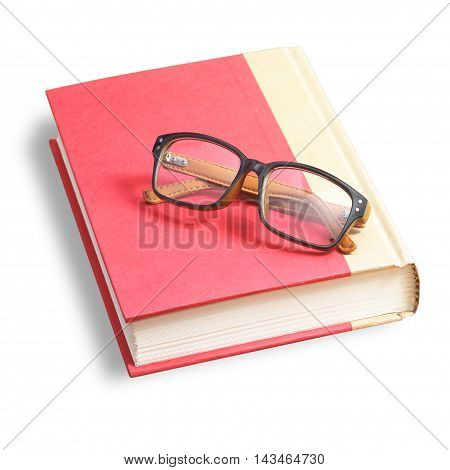 eye glasses with red book on white background .