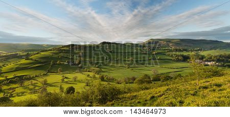 Colorful panorama over the fields and meadows of sheep farmland of welsh valley near Llangedwyn in Wales