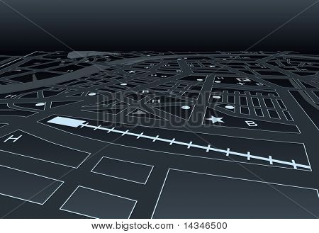 Vector streetmap of a generic city at night