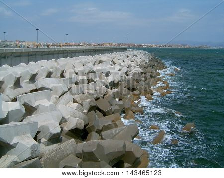 port rocks on the sea. Taken on the 11 of August of 2006 near Las Arenas beach in Valencia