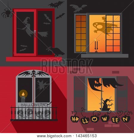 illustration with different Windows decorated for Halloween