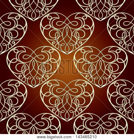 stylish red vector seamless pattern background with vintage beautiful gold love hearts and ornaments. Luxury illustration and royal 3d decor elements with shadow and highlights. Endless elegant  texture.