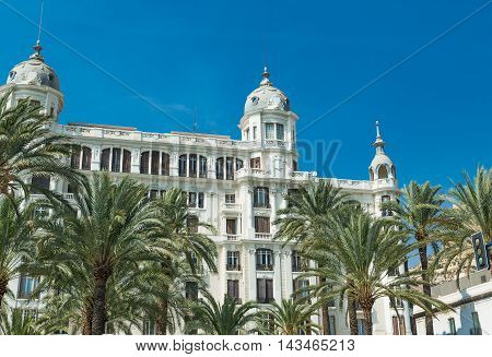 Alicante, Spain - SEPTEMBER 2015: Buildings at Square 'Plaza Puerta del Mar' at summer day
