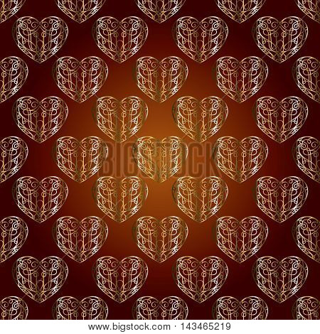 Elegant vector seamless pattern background with vintage gold stylish love hearts and ornaments. Luxury illustration and royal 3d decor elements with shadow and highlights. Endless elegant  texture.