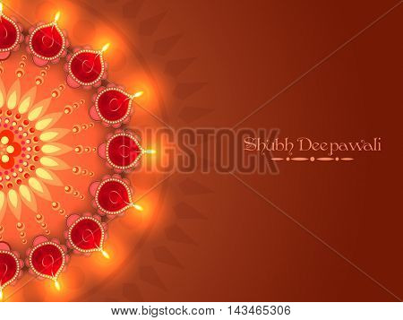 Illuminated Lit Lamps decorated beautiful floral Rangoli, Elegant Greeting Card, Creative Diwali Festive Background, Vector Illustration for Indian Festival of Lights Celebration.
